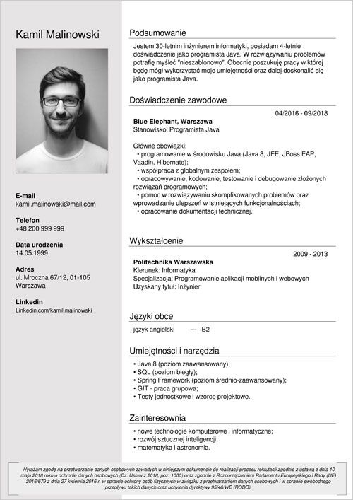 Cv I List Motywacyjny Informatyka Programisty Wzór