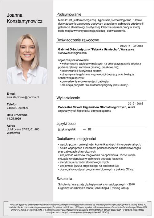 Cv I List Motywacyjny Higienistka Asystentka Stomatologiczna