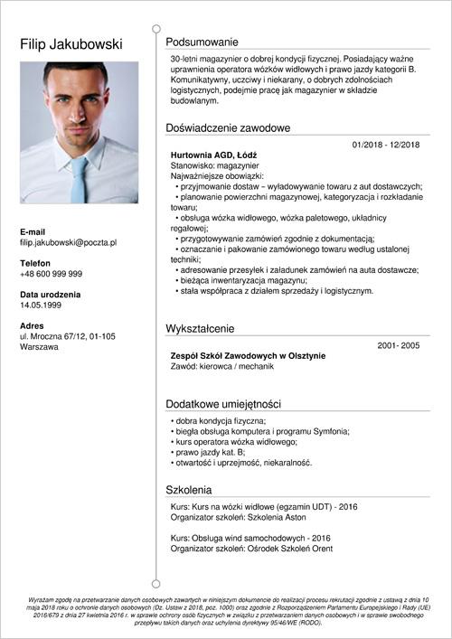 Cv I List Motywacyjny Magazynier Operator Wózka Widłowego Wzór