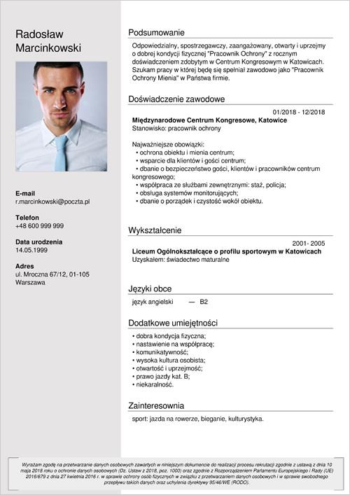 Cv I List Motywacyjny Pracownik Ochrony Ochroniarz Wzór Doc