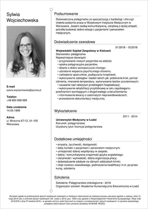 Cv I List Motywacyjny Pielęgniarki Wzór