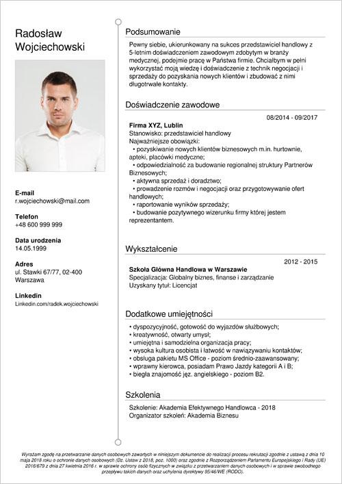 cv i list motywacyjny przedstawiciel handlowy
