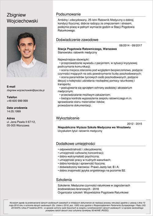 Cv I List Motywacyjny Ratownik Medyczny Wzory