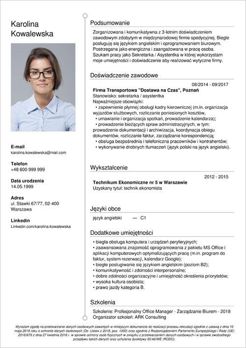 Cv I List Motywacyjny Sekretarka Recepcjonistka Rejestratorka
