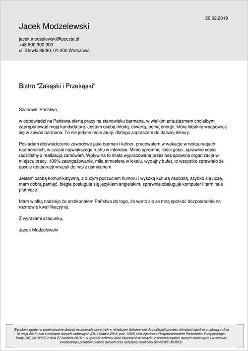 Cv I List Motywacyjny Barmana Barmanki Wzory