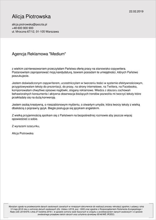 Cv I List Motywacyjny Copywriter Wzory