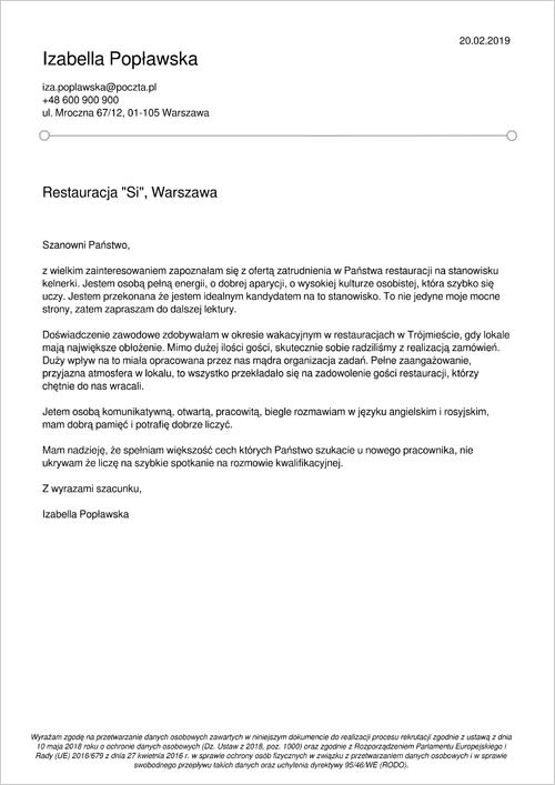 Cv I List Motywacyjny Kelner Kelnerka Wzory