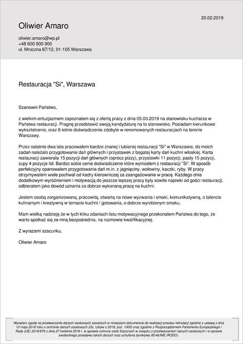 Cv I List Motywacyjny Kucharz Wzory Przykłady