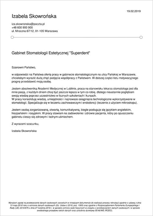 Cv I List Motywacyjny Lekarz Stomatolog Gotowy Wzór
