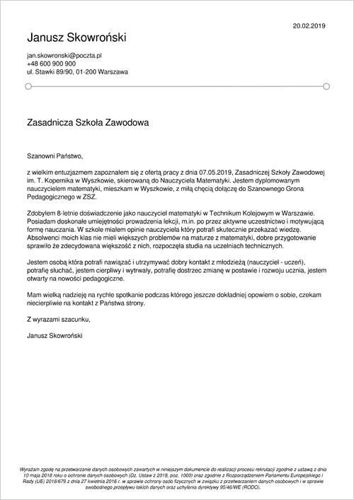 Cv I List Motywacyjny Nauczyciela Przykłady