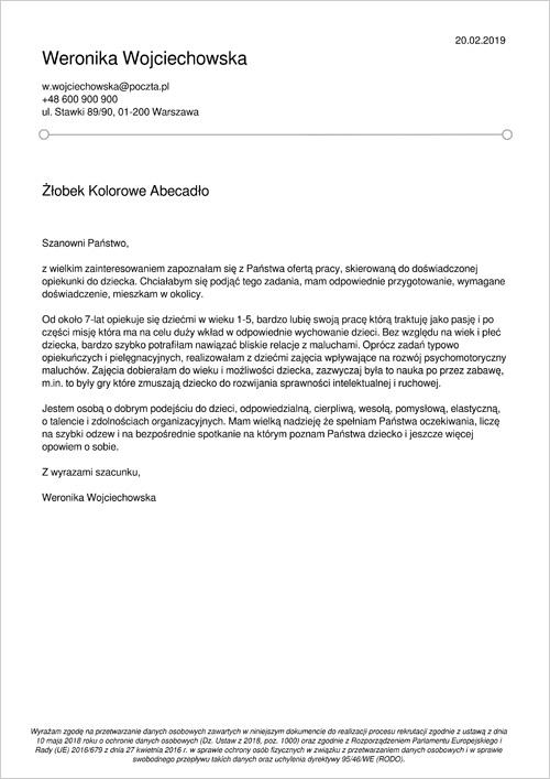 Cv I List Motywacyjny Opiekunka Do Dziecka Niania Wzór