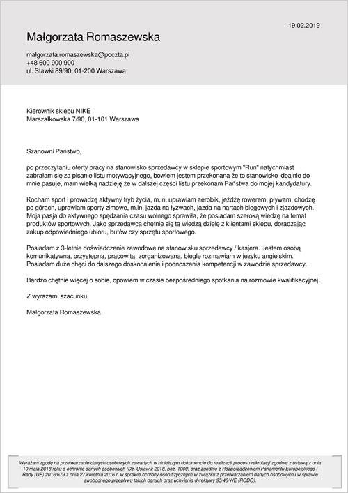 Cv I List Motywacyjny Sprzedawca Kasjer Gotowy Wzór